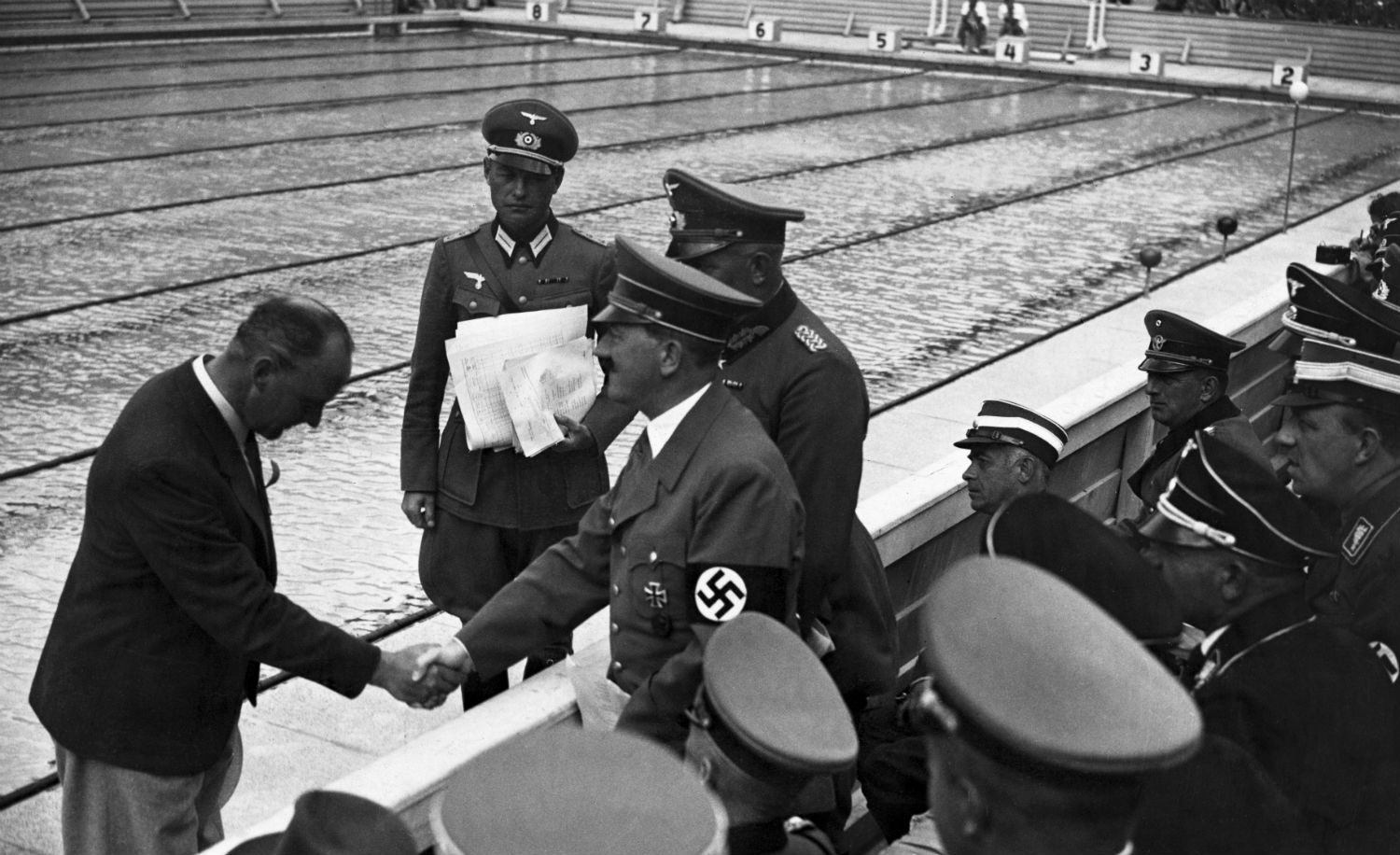 Adolf Hitler at the 1936 Olympic Games in Berlin. Hulton-Deutsch Collection/CORBIS/Corbis via Getty Images.