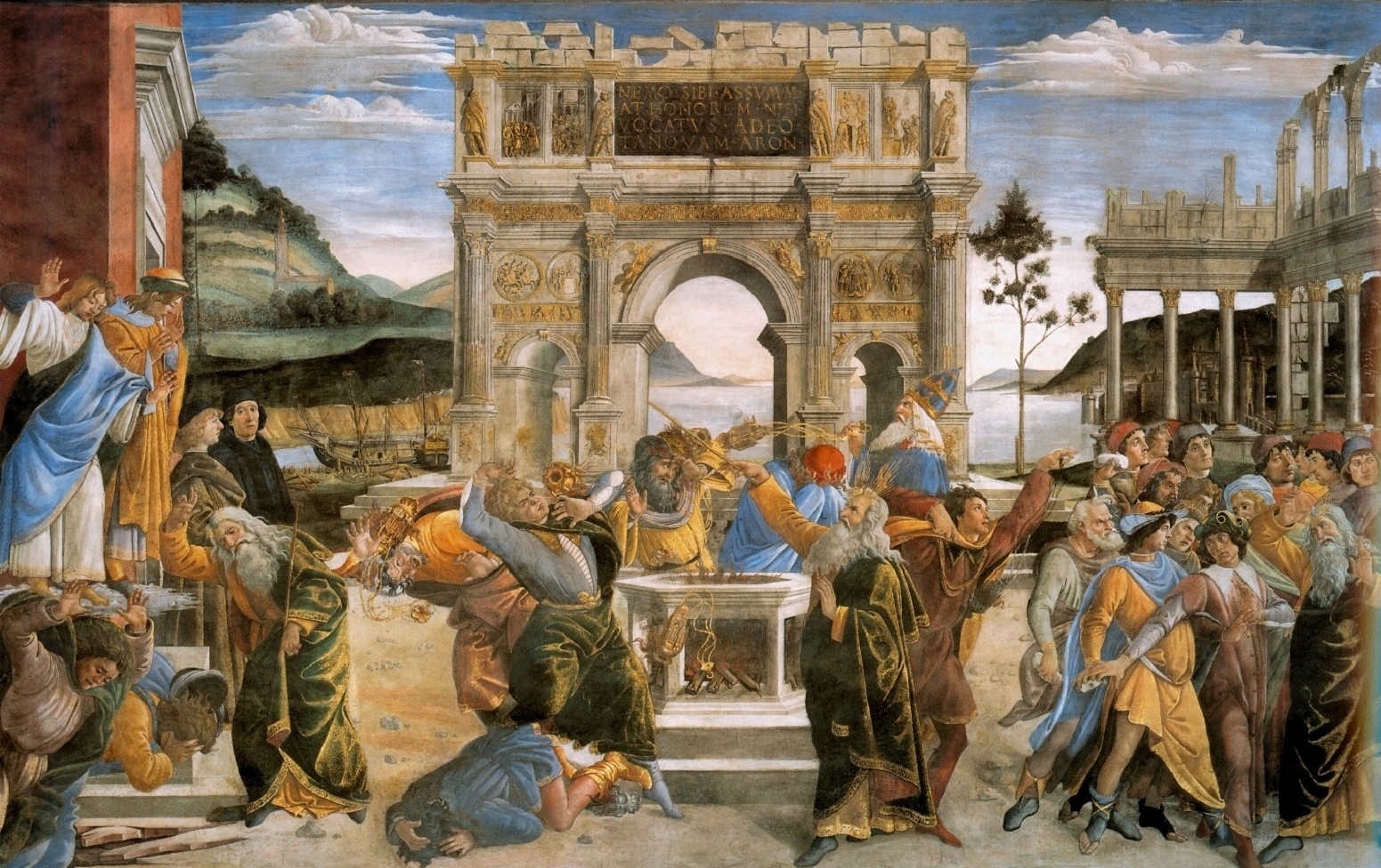 Botticelli's The Punishment of Korah and the Stoning of Moses and Aaron, 1482. Wikipedia.