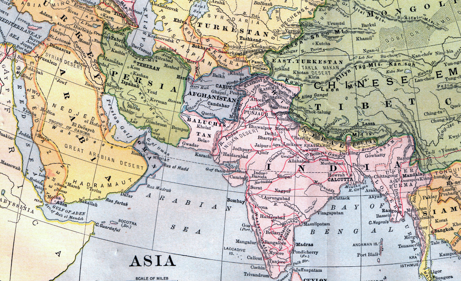 A 1904 map showing southwest Asia. Wikipedia.