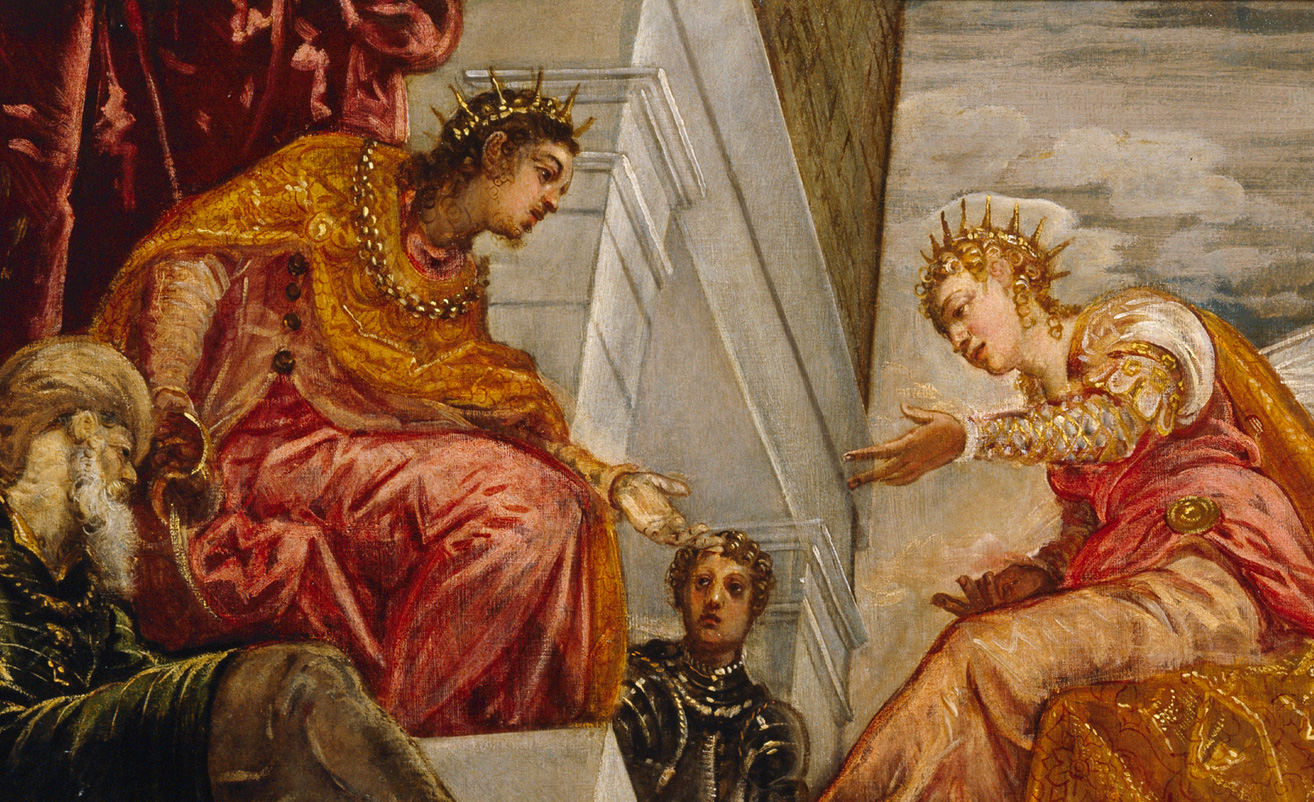 From Solomon Receives the Queen of Sheba, Tintoretto, 1555. Wikimedia.