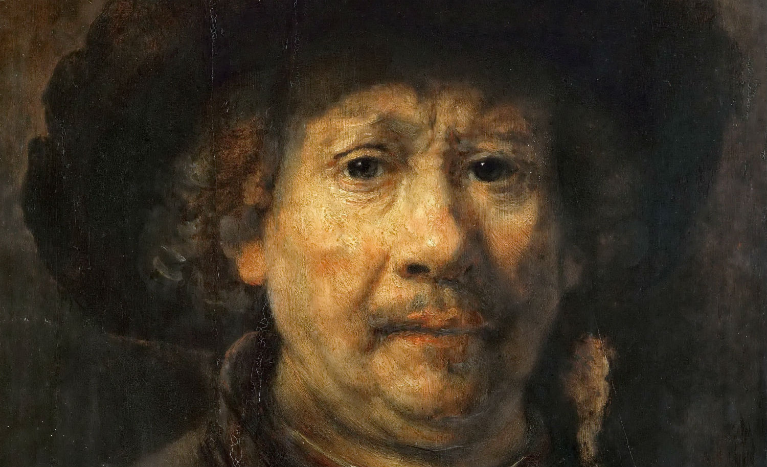 From Rembrandt's Self-portrait with Beret, 1655. Wikimedia.