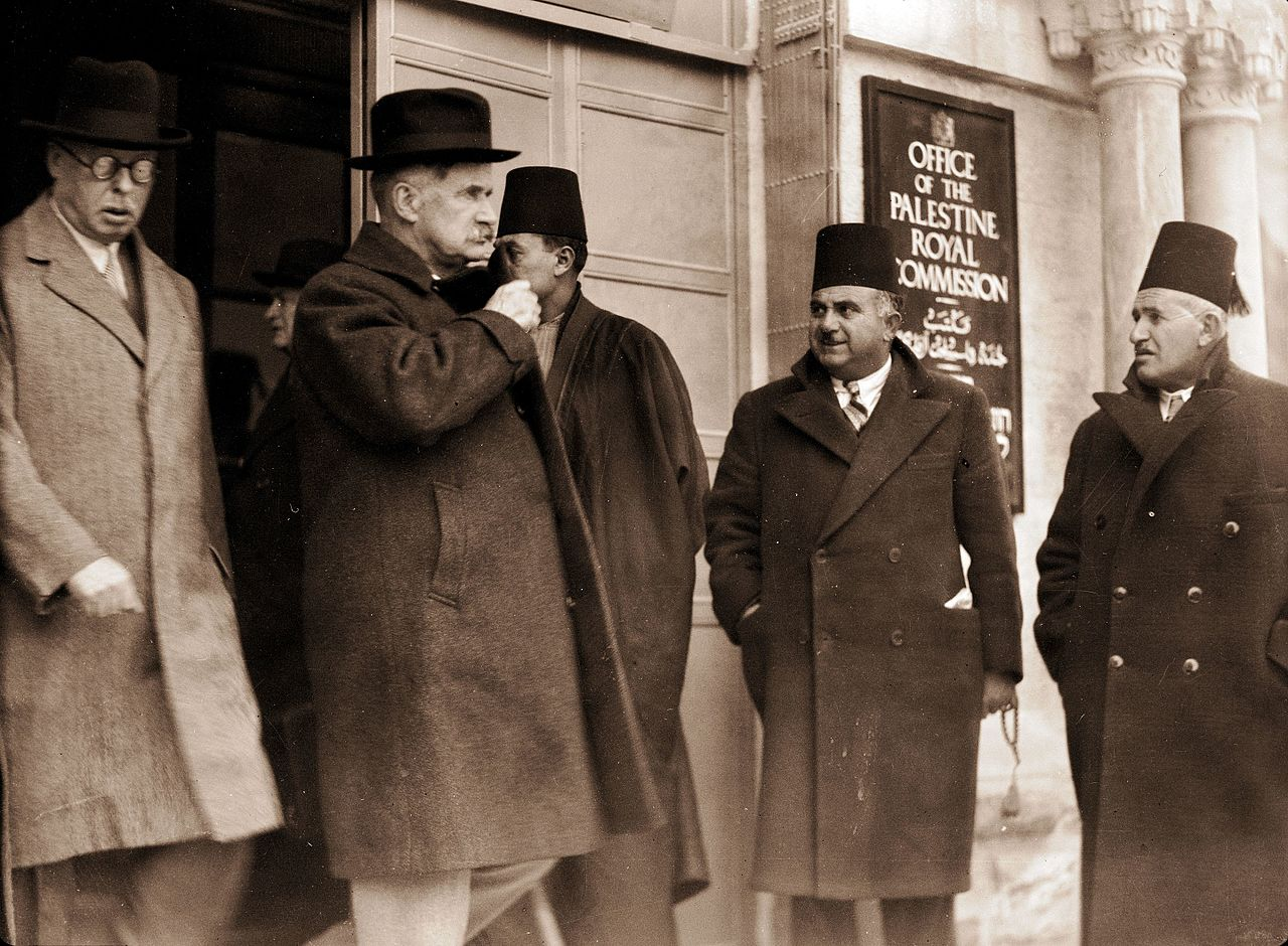 Lord Peel and Sir Horace Rumbold, chairman & vice chairman of the Palestine Royal Commission, after taking evidence from the Arab Higher Committee in Jerusalem in 1937. Library of Congress.