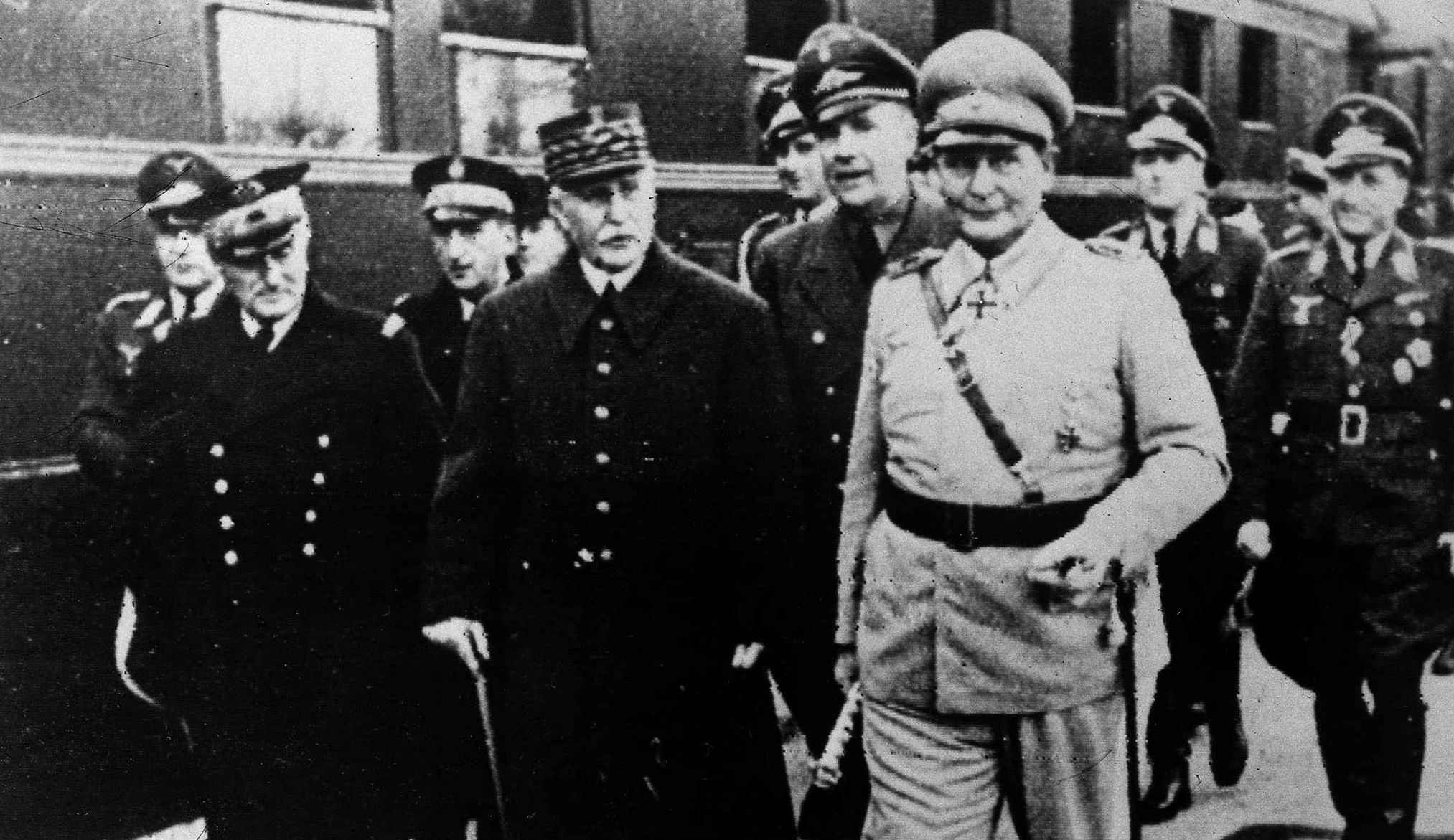 Admiral Jean-François Darlan, Marshal Phillipe Petain and Air Marshal Hermann Goering after a meeting between Vichy and Nazi leaders at which they discussed the handing over of bases in French North Africa to the Nazis. Popperfoto/Getty Images.