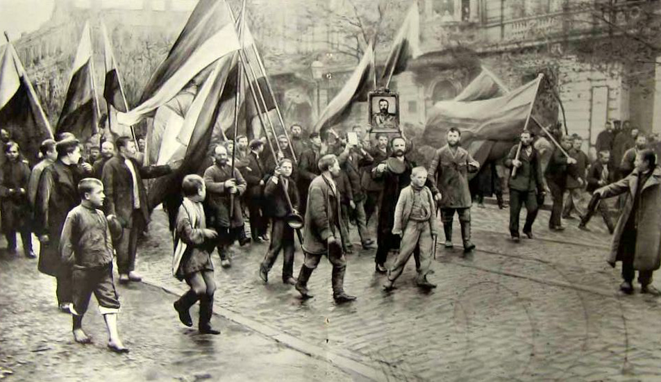 Russians belonging to a far-right party marching during the 1905 revolution. Wikipedia.