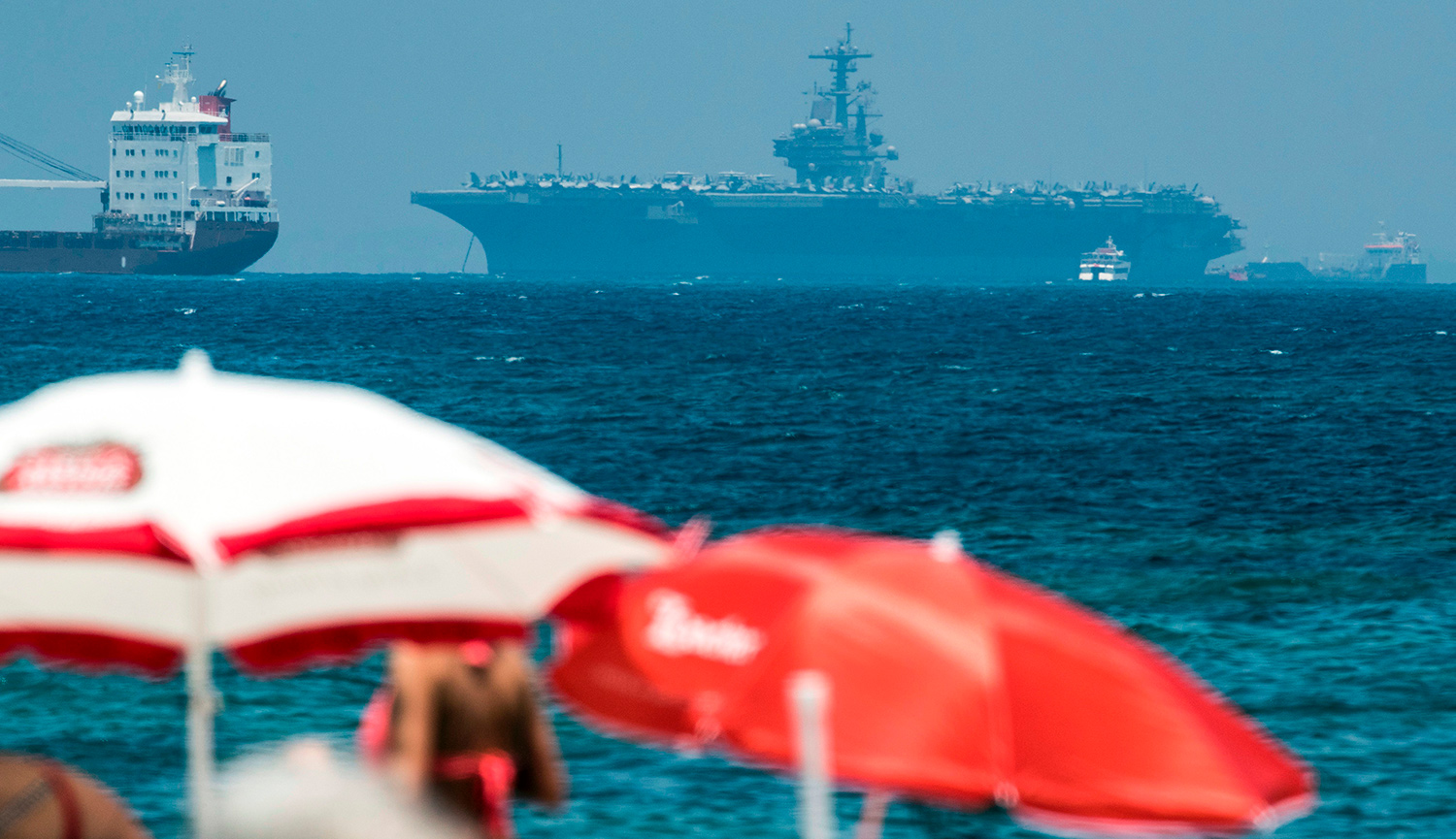 The aircraft carrier USS George H.W. Bush moored off the port of Haifa in July 2017. JACK GUEZ/AFP/Getty Images.