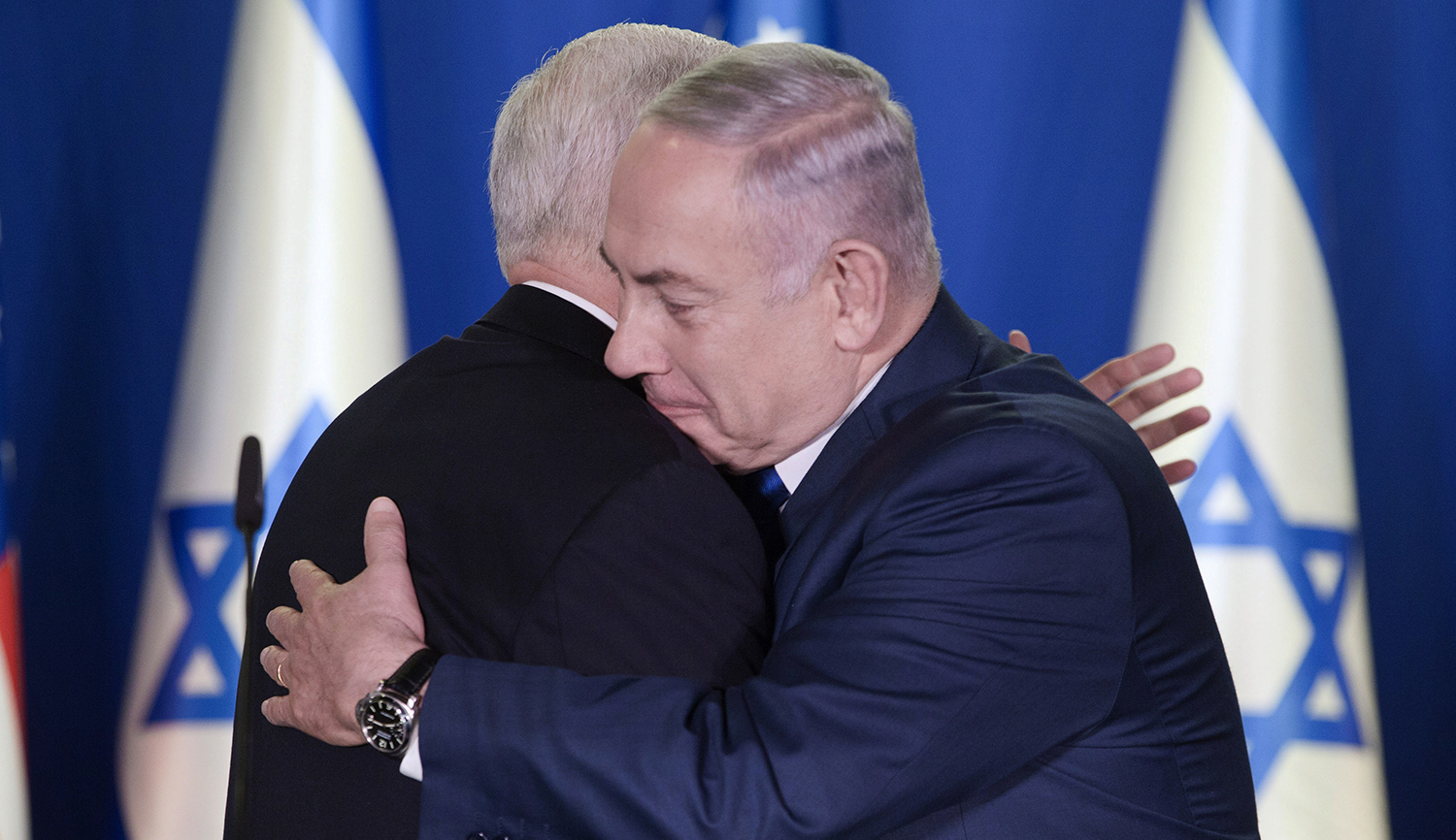 Mike Pence and Benjamin Netanyahu on January 22, 2018 in Jerusalem. ARIEL SCHALIT/AFP/Getty Images.