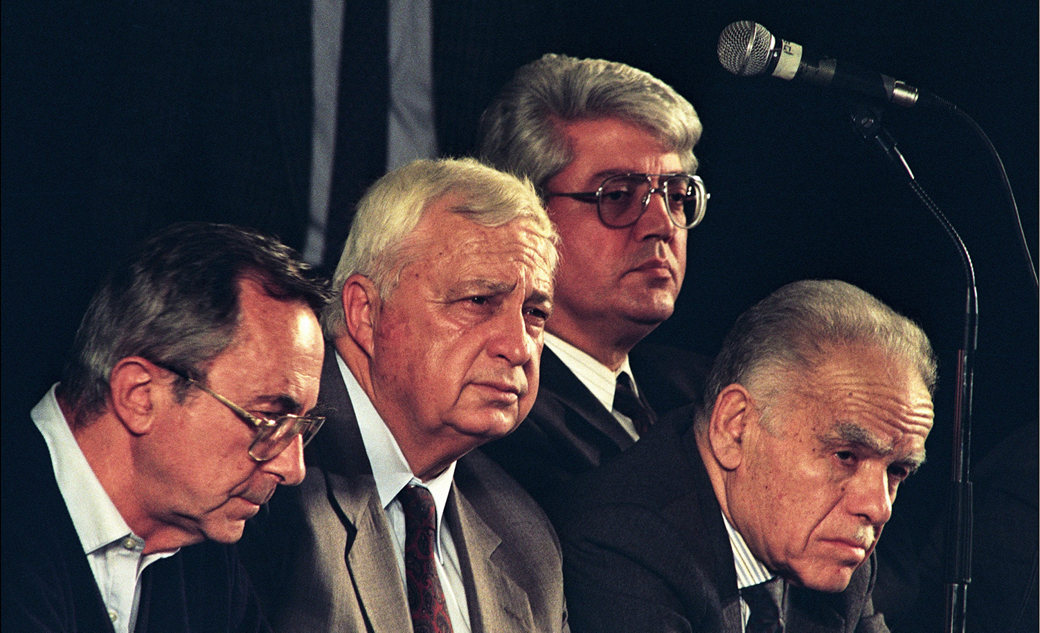 Moshe Arens (left), with Ariel Sharon, David Levy, and Yitzhak Shamir on February 10, 1992 in Israel. Esaias BAITEL/Gamma-Rapho via Getty Images.