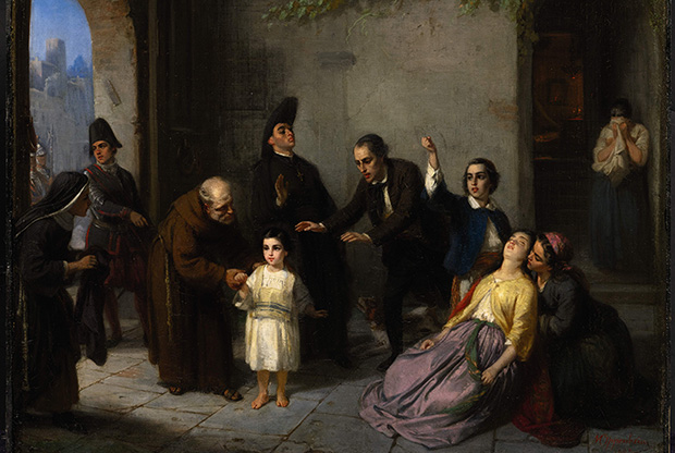 From The Kidnapping of Edgardo Mortara, painting by Moritz Daniel Oppenheim, 1862. Wikipedia.