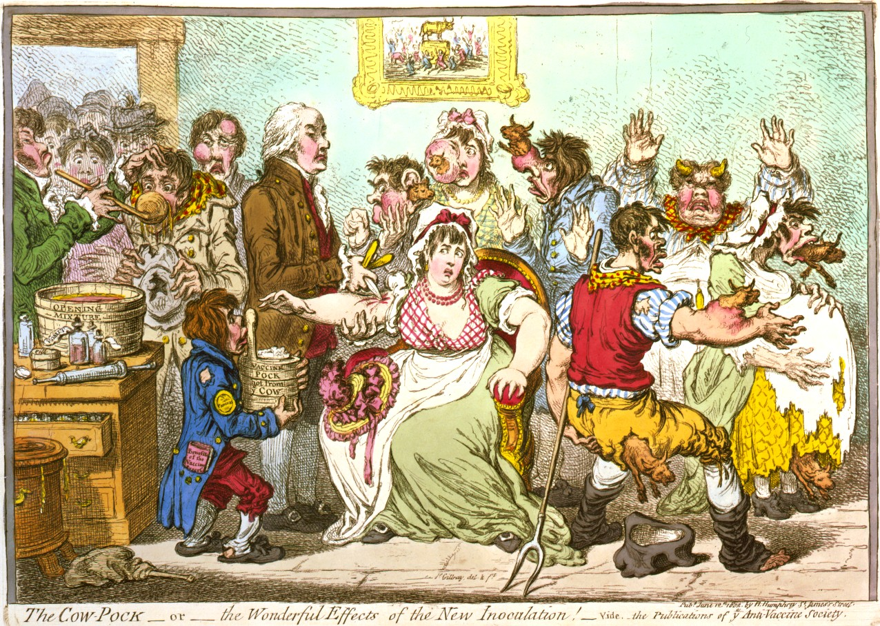 An 1804 cartoon caricaturing the Smallpox and Inoculation Hospital in St. Pancras, London. Wikipedia.