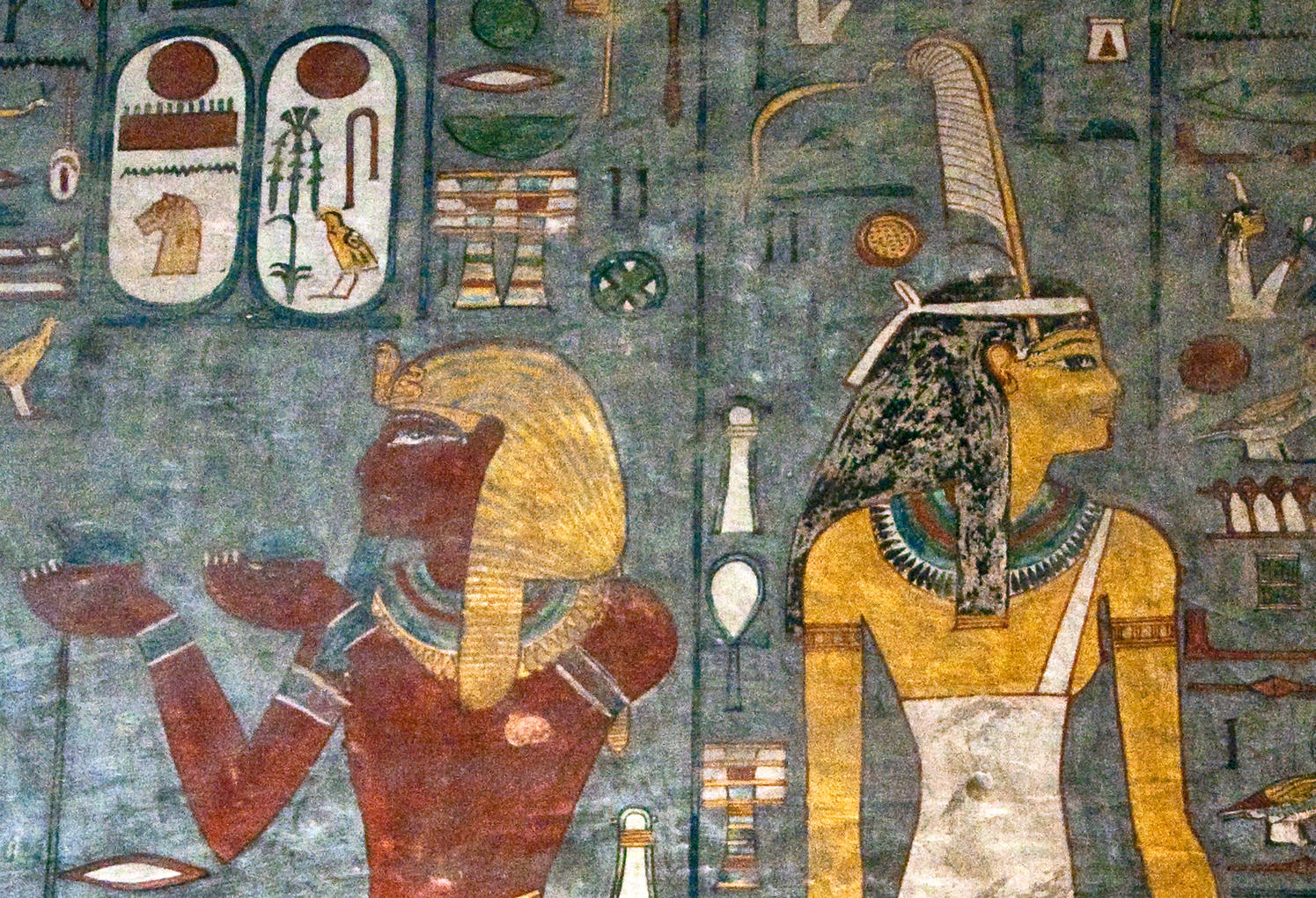Art on the tomb of Ramses I in Luxor, Egypt.Arco Images GmbH/Alamy Stock Photo.