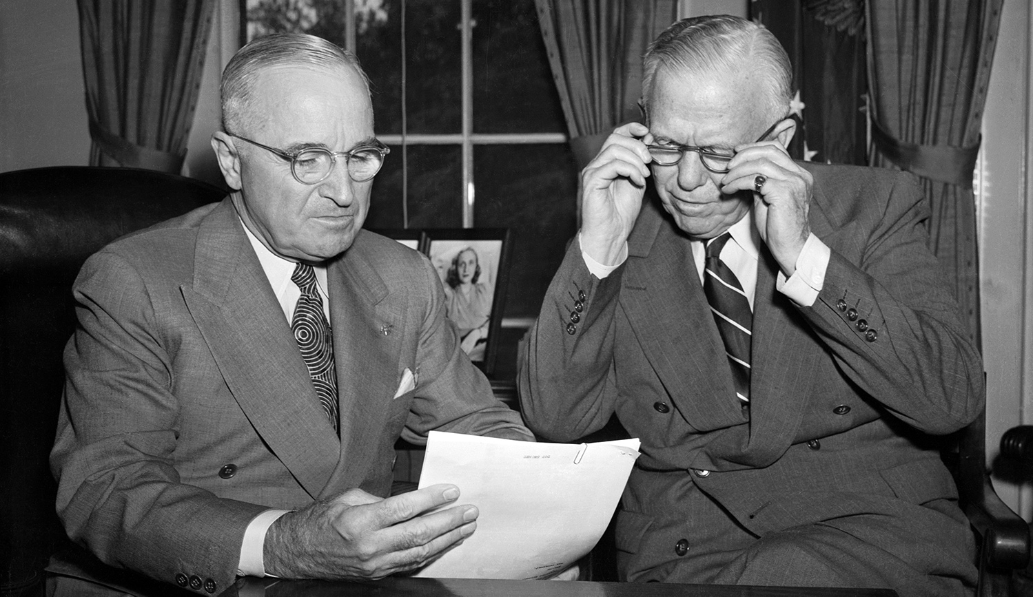President Harry Truman and Defense Secretary George C. Marshall in 1951. Getty.