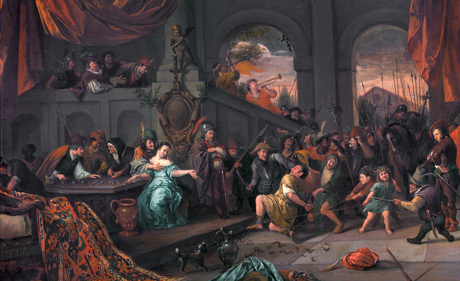From The Mocking of Samson by Jan Steen, 1675-1676. Wikipedia.