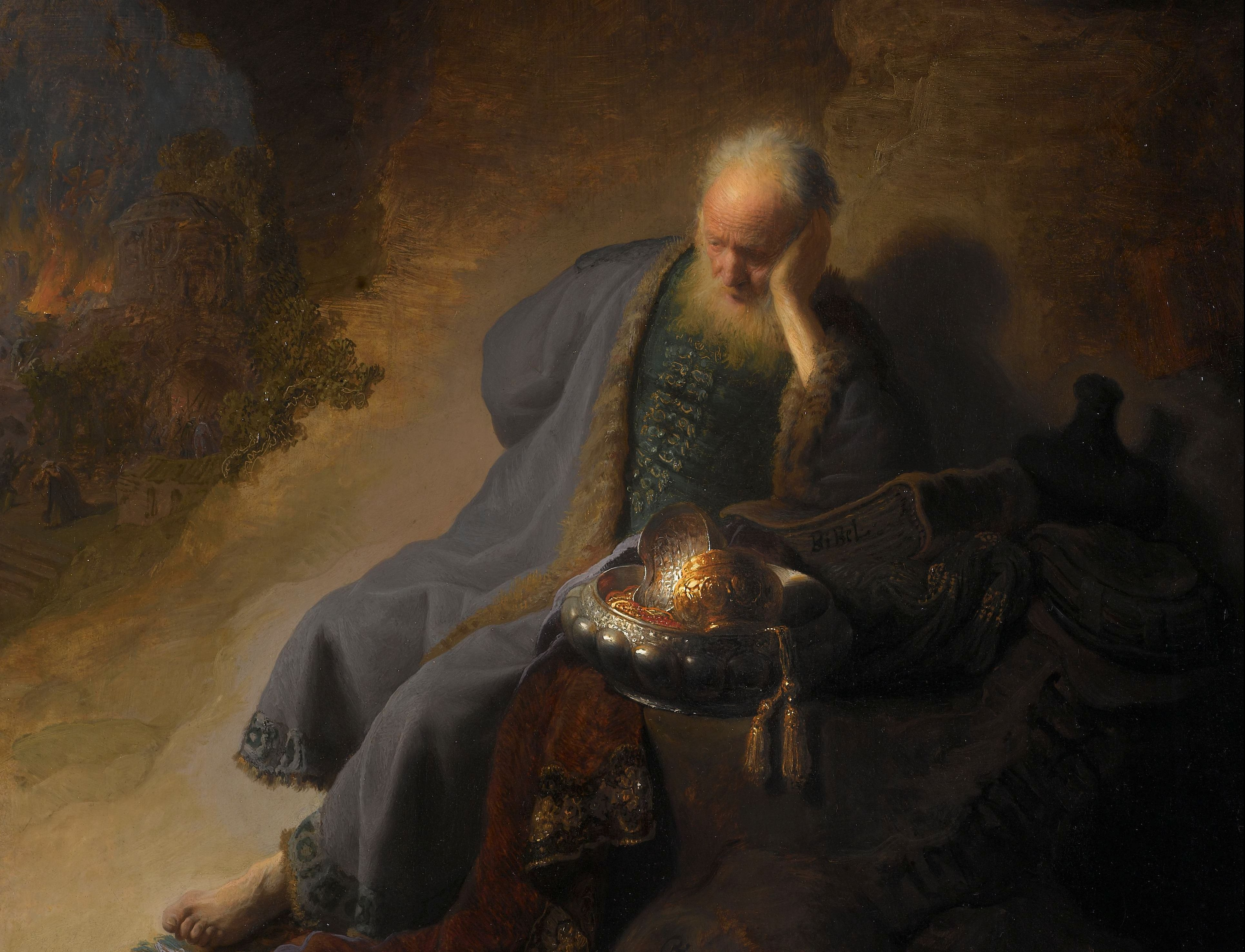 From Jeremiah Lamenting the Destruction of Jerusalem by Rembrandt. Wikimedia Commons.