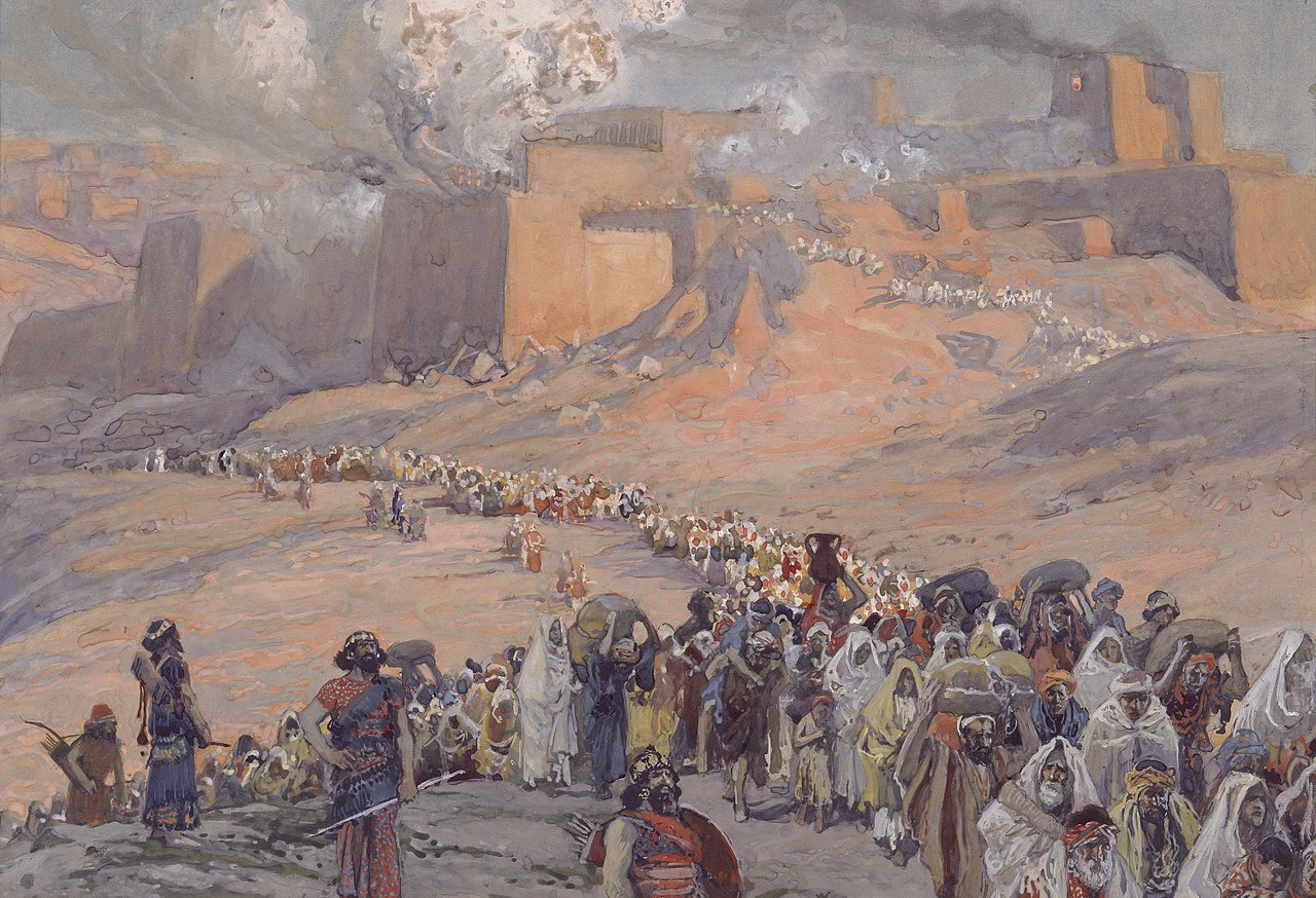 Jewish prisoners outside Jerusalem after the destruction of the Temple by the Babylonians, as depicted in Flight of the Prisoners by James Tissot, c. 1896-1902. Jewish Museum.