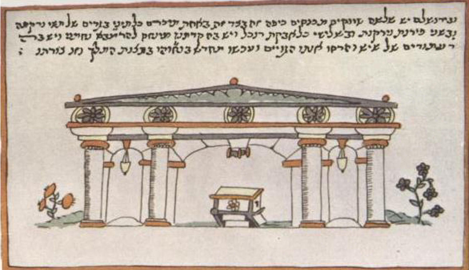 A sixteenth-century illustration of the Ramban Synagogue in Jerusalem. ART Collection / Alamy Stock Photo.