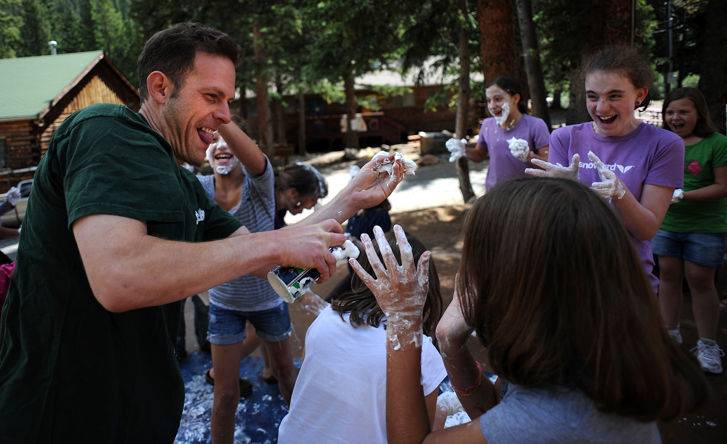 A shaving cream fight at Camp Shwayder, one of the oldest Jewish summer camps in the United States. RJ Sangosti/The Denver Post via Getty Images.