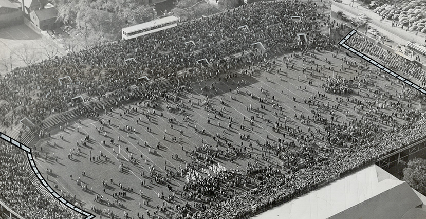 The crowd streams onto the field in celebration after McGill University's football team won a game at home in 1953. Toronto Star Archives/Toronto Star via Getty Images.