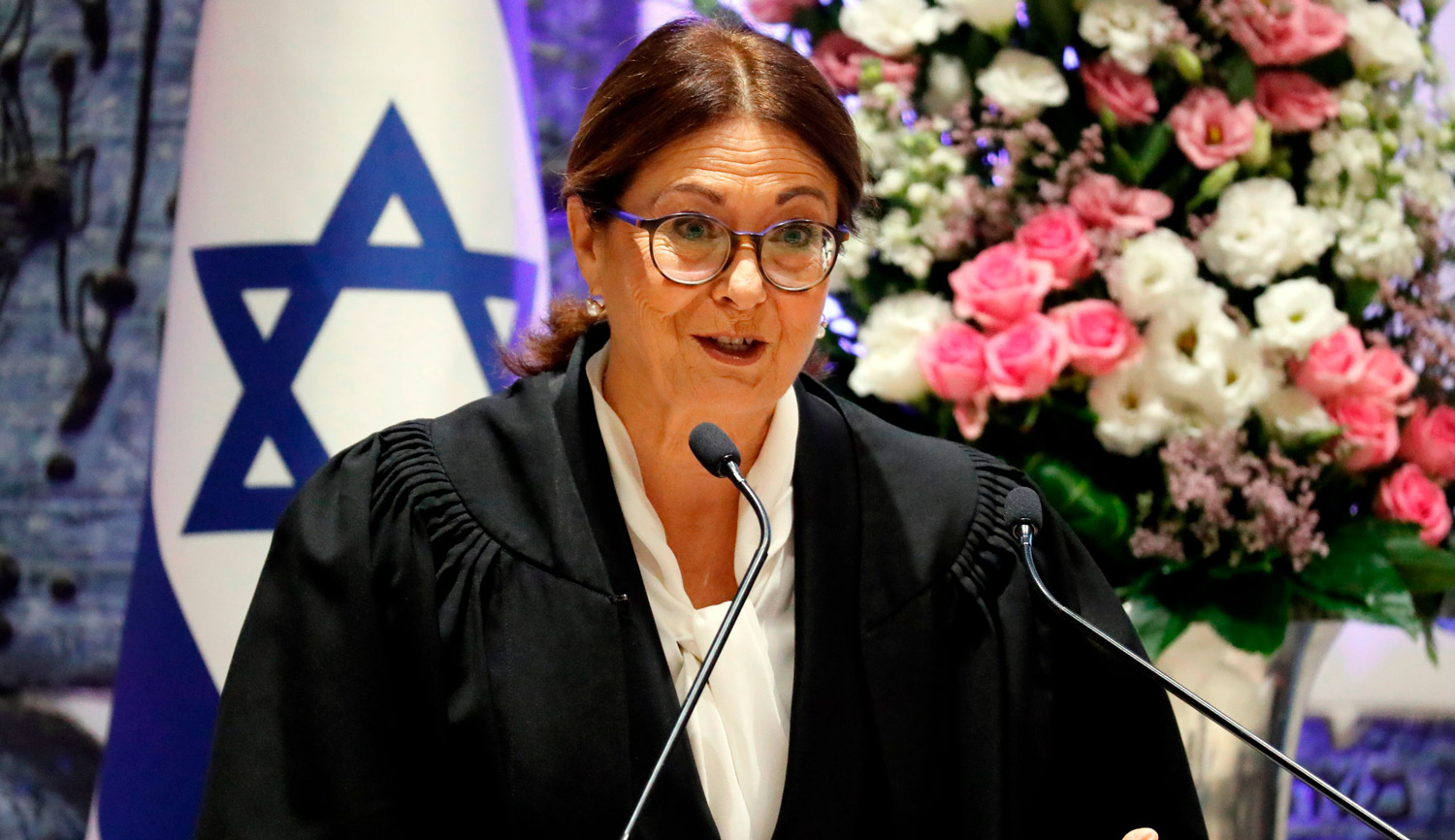 Israel Supreme Court Chief Justice Esther Hayut during her swearing-in ceremony on October 26, 2017. THOMAS COEX/AFP/Getty Images.