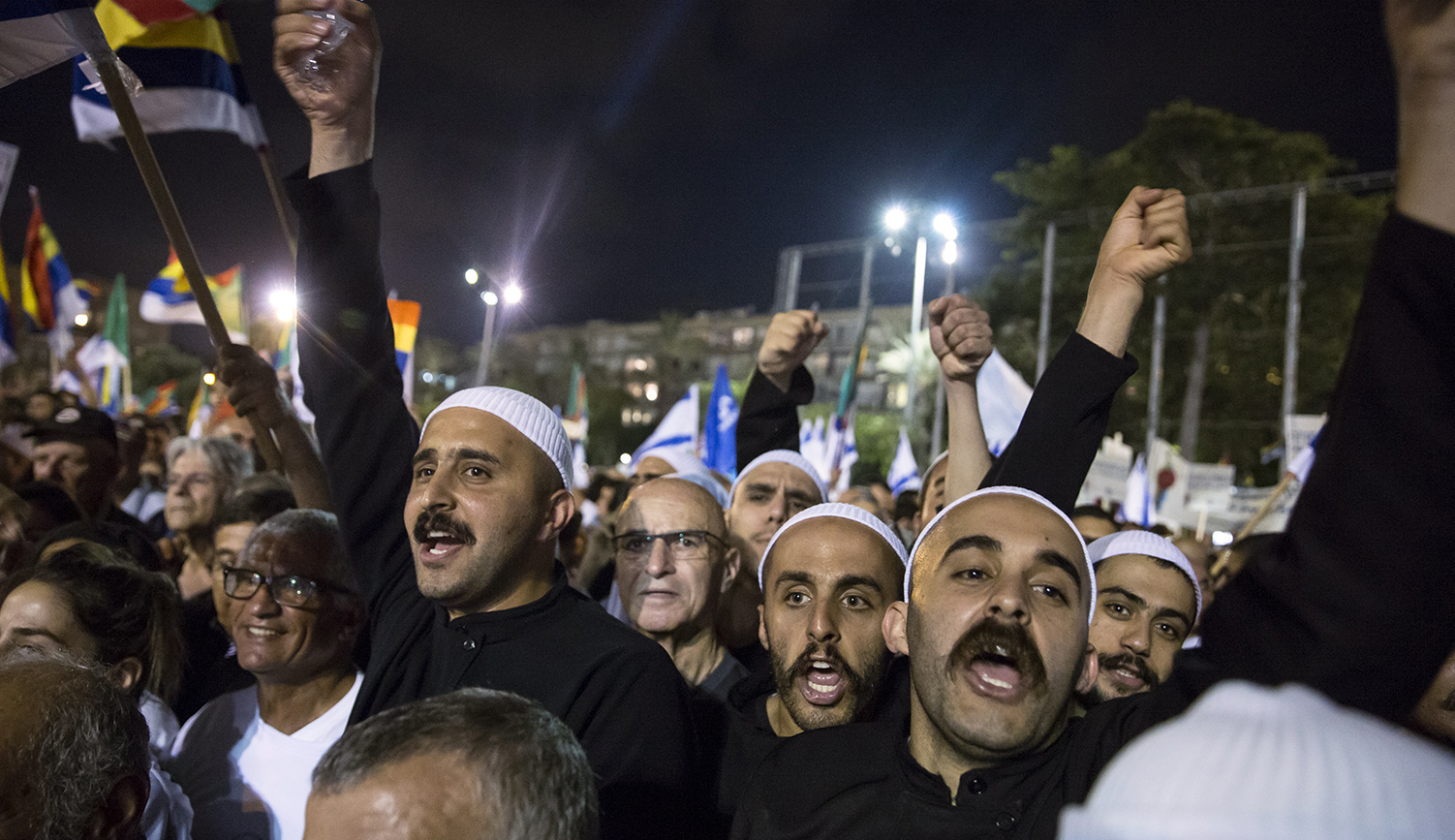 Israeli Druze men protest against the new nation-state law on August 4, 2018 in Tel Aviv. Amir Levy/Getty Images.