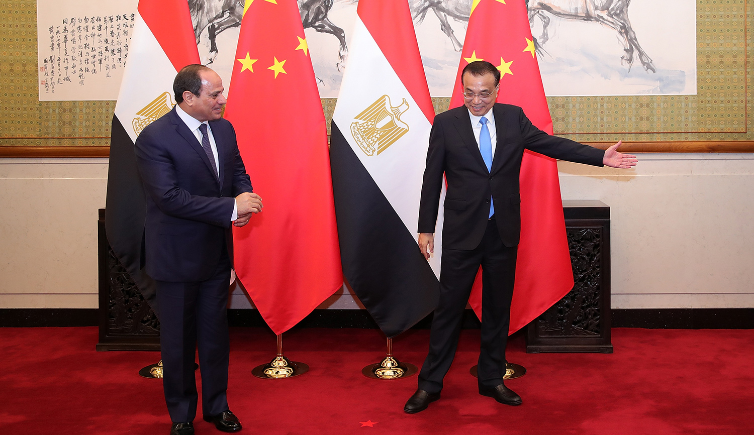 Egypt's President Abdel Fattah al-Sisi (L) meets China's Premier Li Keqiang in Beijing on September 2, 2018. LINTAO ZHANG/AFP/Getty Images.
