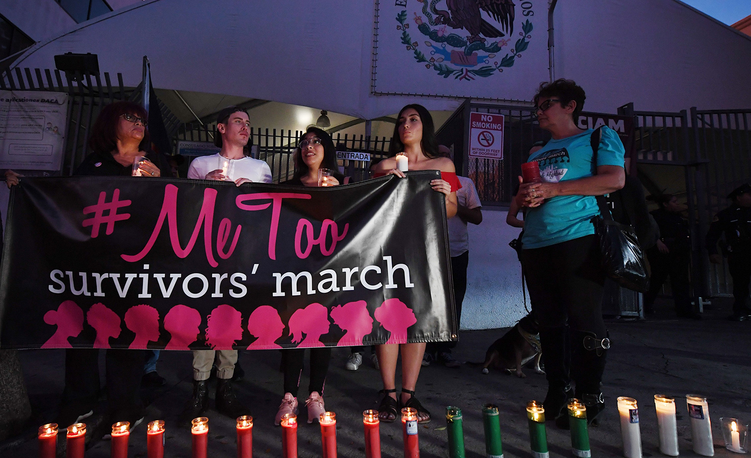 A group describing themselves as #MeToo/#YoTambien survivors in Los Angeles on November 1, 2018. MARK RALSTON/AFP/Getty Images.