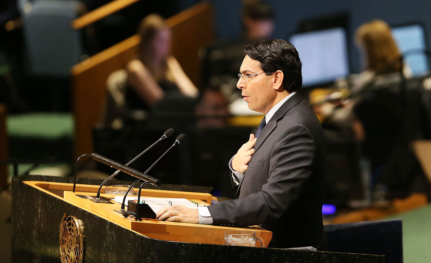 Danny Danon, Israel's representative to the United Nations, speaks on the floor of the General Assembly on December 21, 2017 in New York City. Spencer Platt/Getty Images.