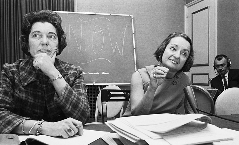 Kathryn F. Clarenbach and Betty Friedan (right) at a meeting of the National Organization of Women in 1968. Getty.