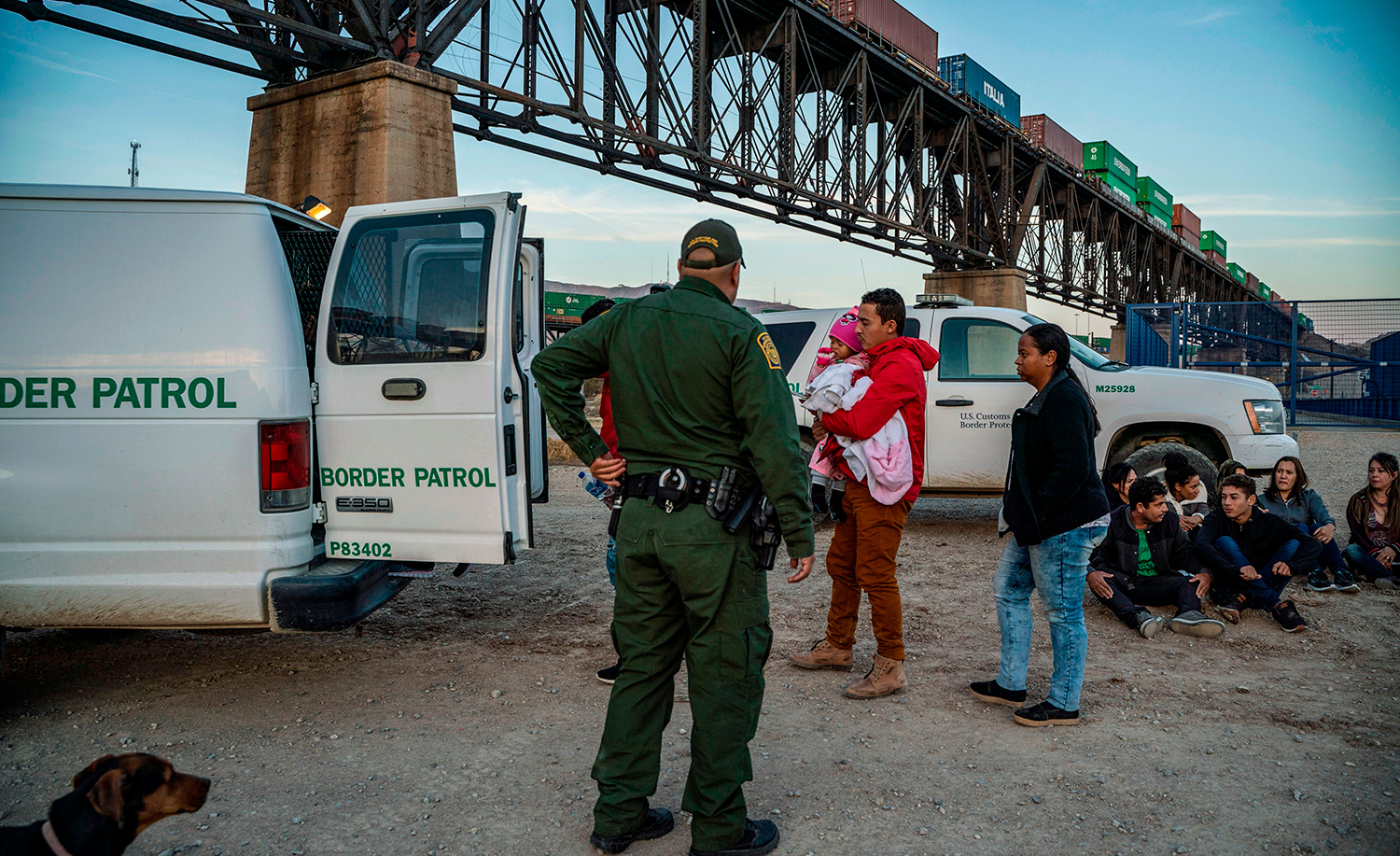 A group of Brazilian migrants in Sunland Park, New Mexico on March 20, 2019. PAUL RATJE/AFP/Getty Images.