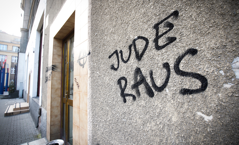 Anti-Semitic graffiti in Warsaw, Poland on February 25, 2019. Jaap Arriens/NurPhoto.