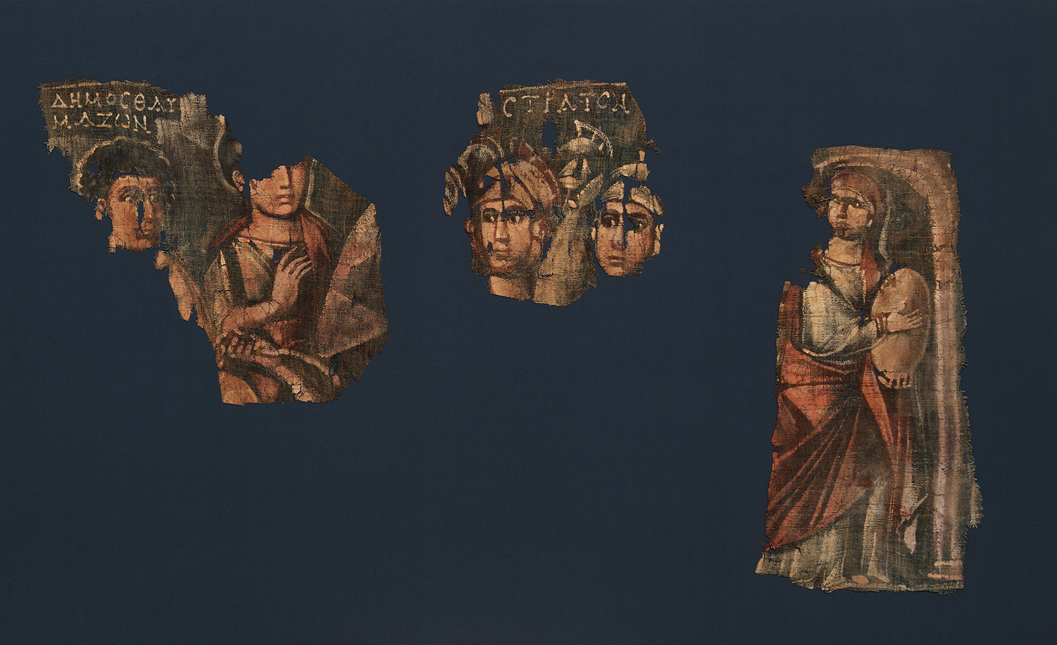 Five elements from a painted Byzantine hanging depicting the Israelite crossing of the Red Sea, mid-2nd to mid-4th century CE, Metropolitan Museum of Art.