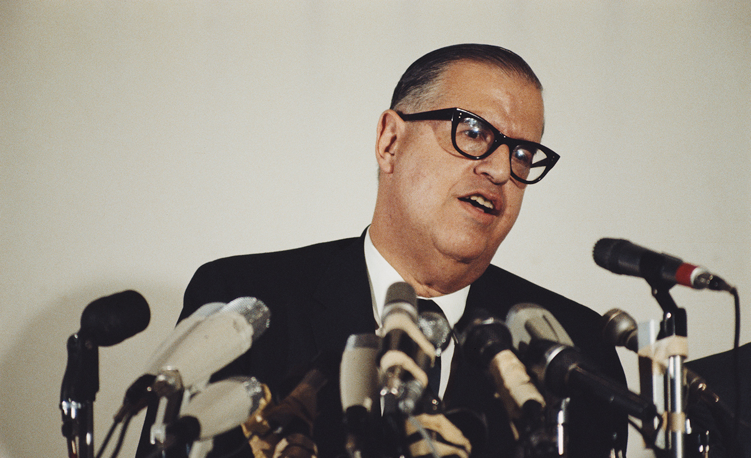 The Israeli diplomat and politician Abba Eban at a press conference in Tel Aviv in May 1970. Rolls Press/Popperfoto/Getty Images.