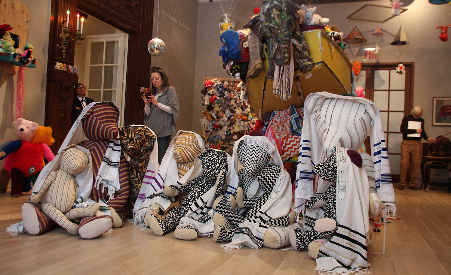 "A view of an exhibition called ""Charlemagne Palestine's Bear Mitzvah in Meshugaland"" at the Jewish Museum in New York in 2017. Christina Horsten/picture alliance via Getty Images."