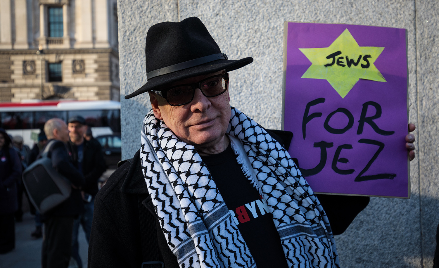 A pro-Jeremy Corbyn protester at a counter-protest to a 2018 demonstration against anti-Semitism in the UK Labor Party in London. Jack Taylor/Getty Images.