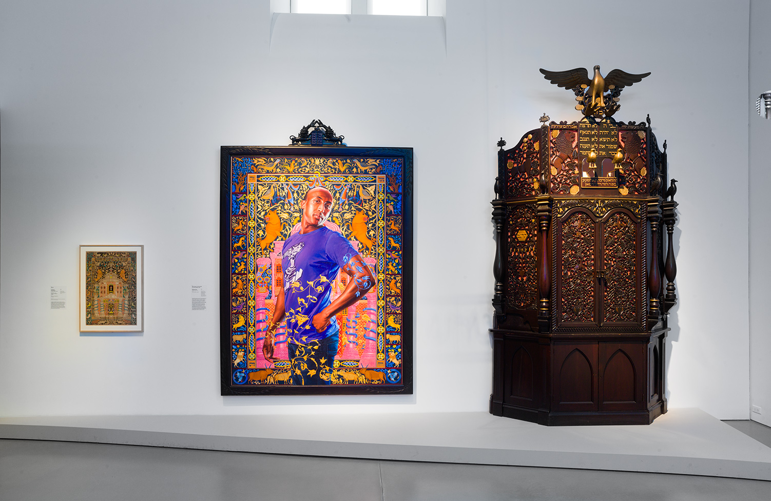 An 1877 Ukrainian mizraḥ, Kehinde Wiley's painting of Alios Itzhak, and an ark from Iowa. Jewish Museum.