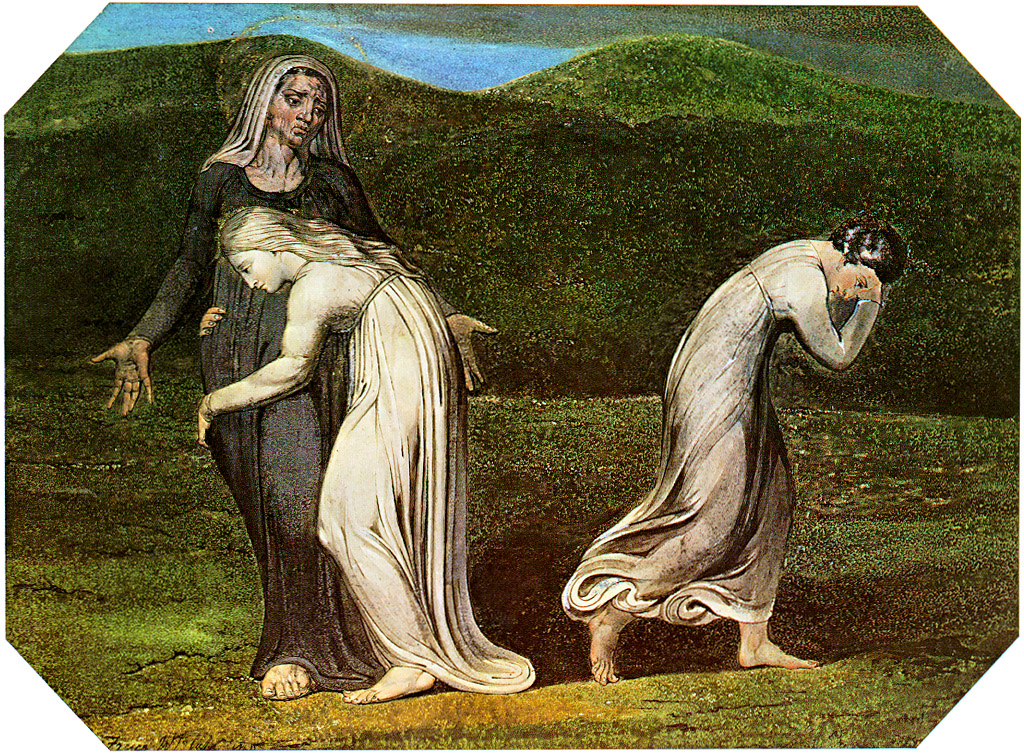 William Blake, Naomi Entreating Ruth and Orpah to Return to the Land of Moab, 1795. Wikimedia.