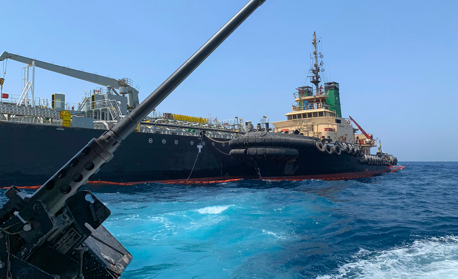 The Japanese oil tanker Kokuka Courageous off the port of the Gulf emirate of Fujairah on June 19, 2019 after being attacked by Iran. MUMEN KHATIB/AFP/Getty Images.