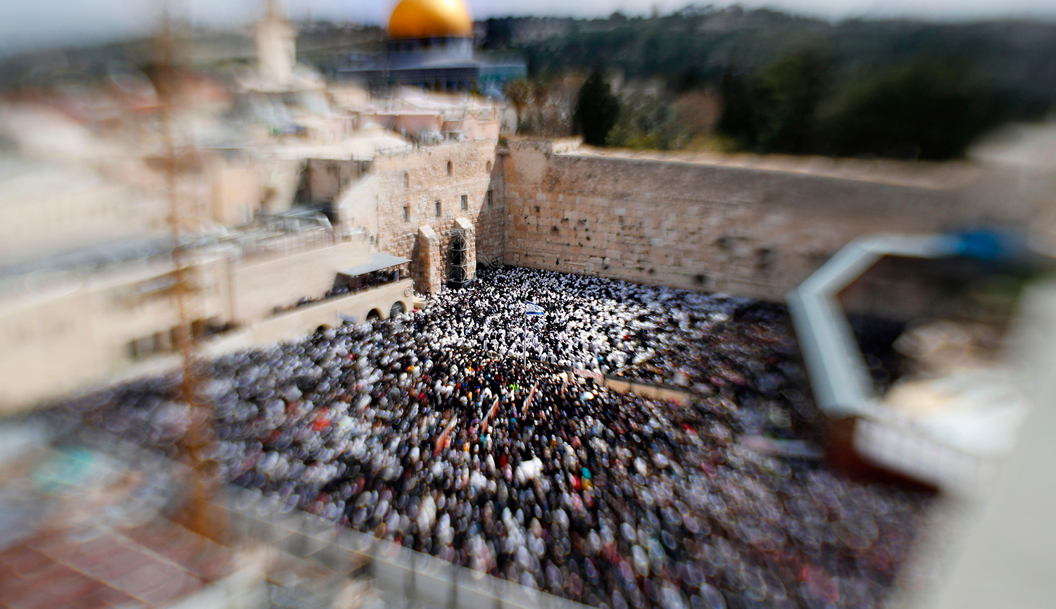 A blurred view of the Western Wall during Passover in April 2019. THOMAS COEX/AFP/Getty Images.
