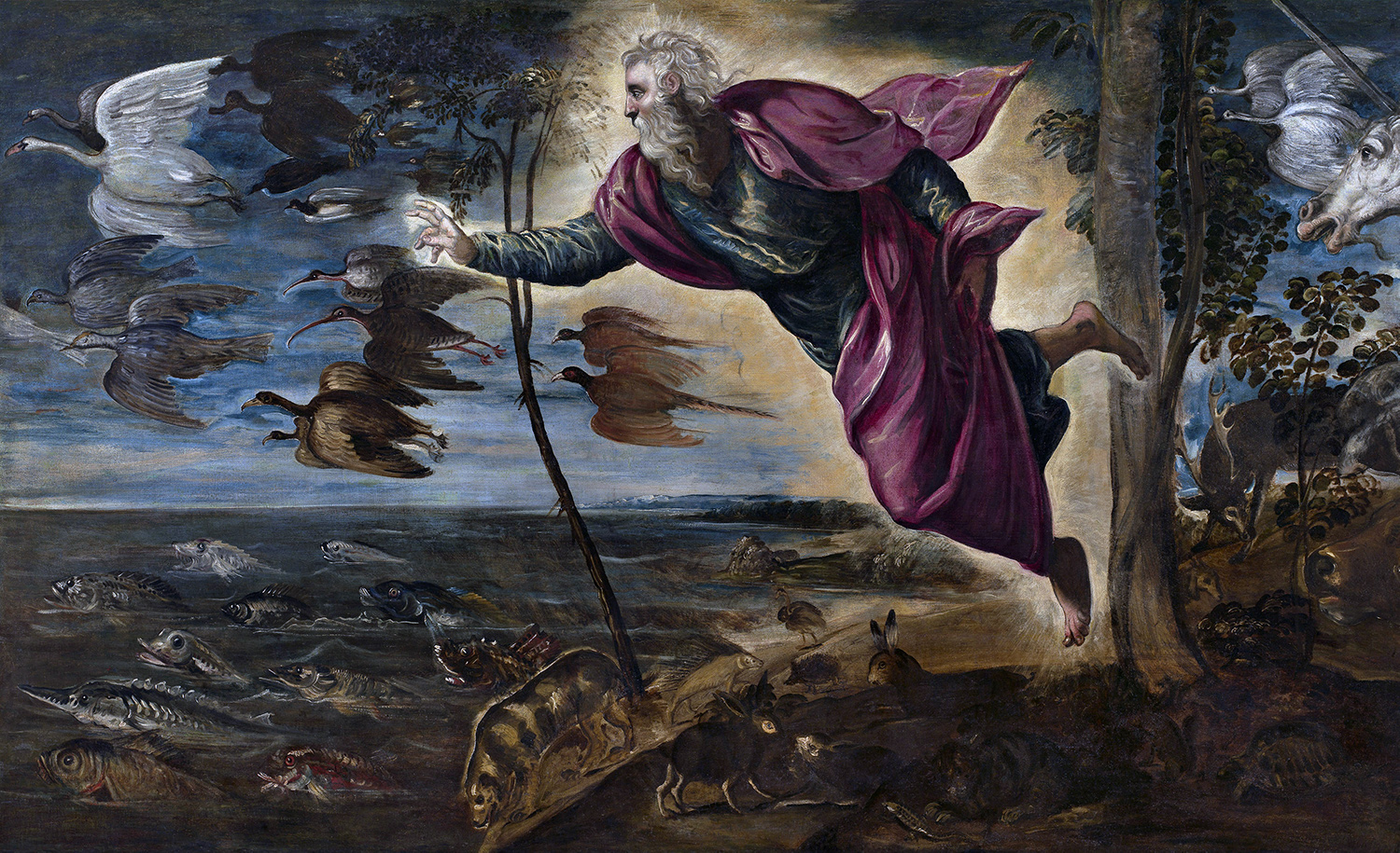 From The Creation of the Animals, 1550-1553, oil on canvas, by Jacopo Tintoretto. National Gallery of Art.