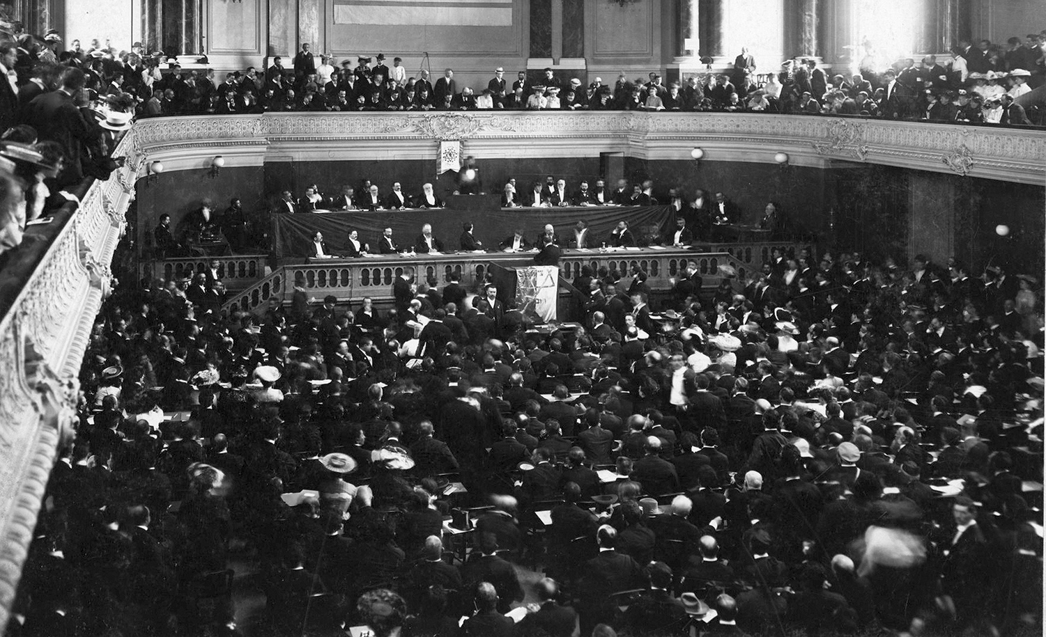 The First Zionist Congress, held in Basel, Switzerland in 1897. Photo12/Universal Images Group via Getty Images.
