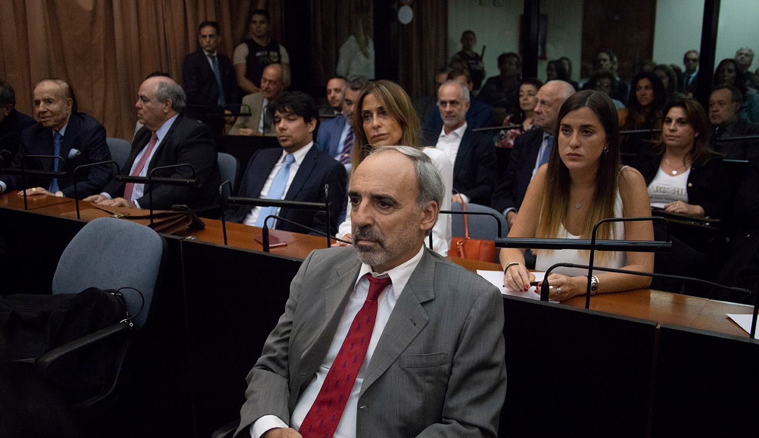 Former magistrate Juan José Galeano attends as defendant on August 16, 2015: the first day of hearings into the 1994 AMIA bombing in Buenos Aires. Matías Baglietto/NurPhoto via Getty Images.