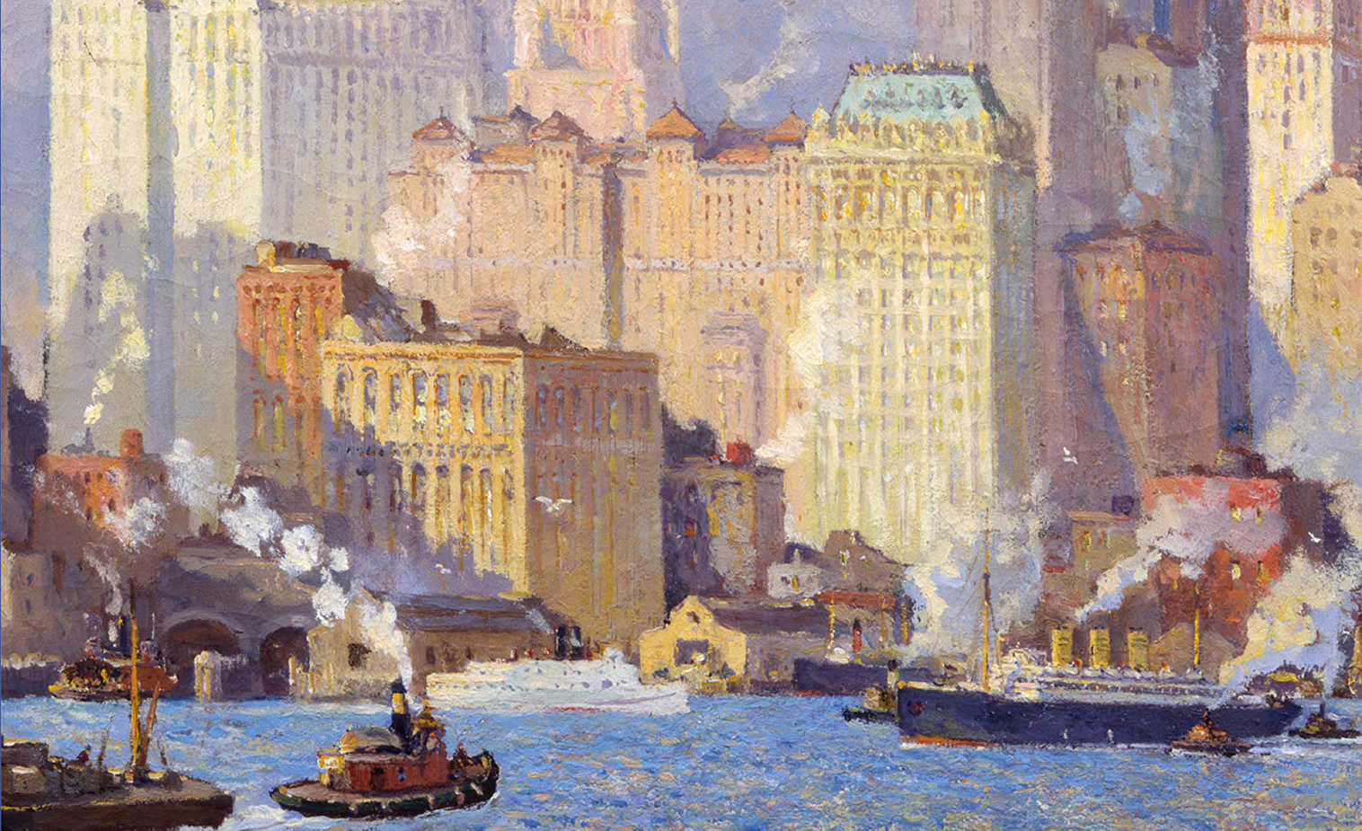 From Hudson River Waterfront, N.Y.C. by Colin Campbell Cooper, ca. 1913-21. New-York Historical Society.