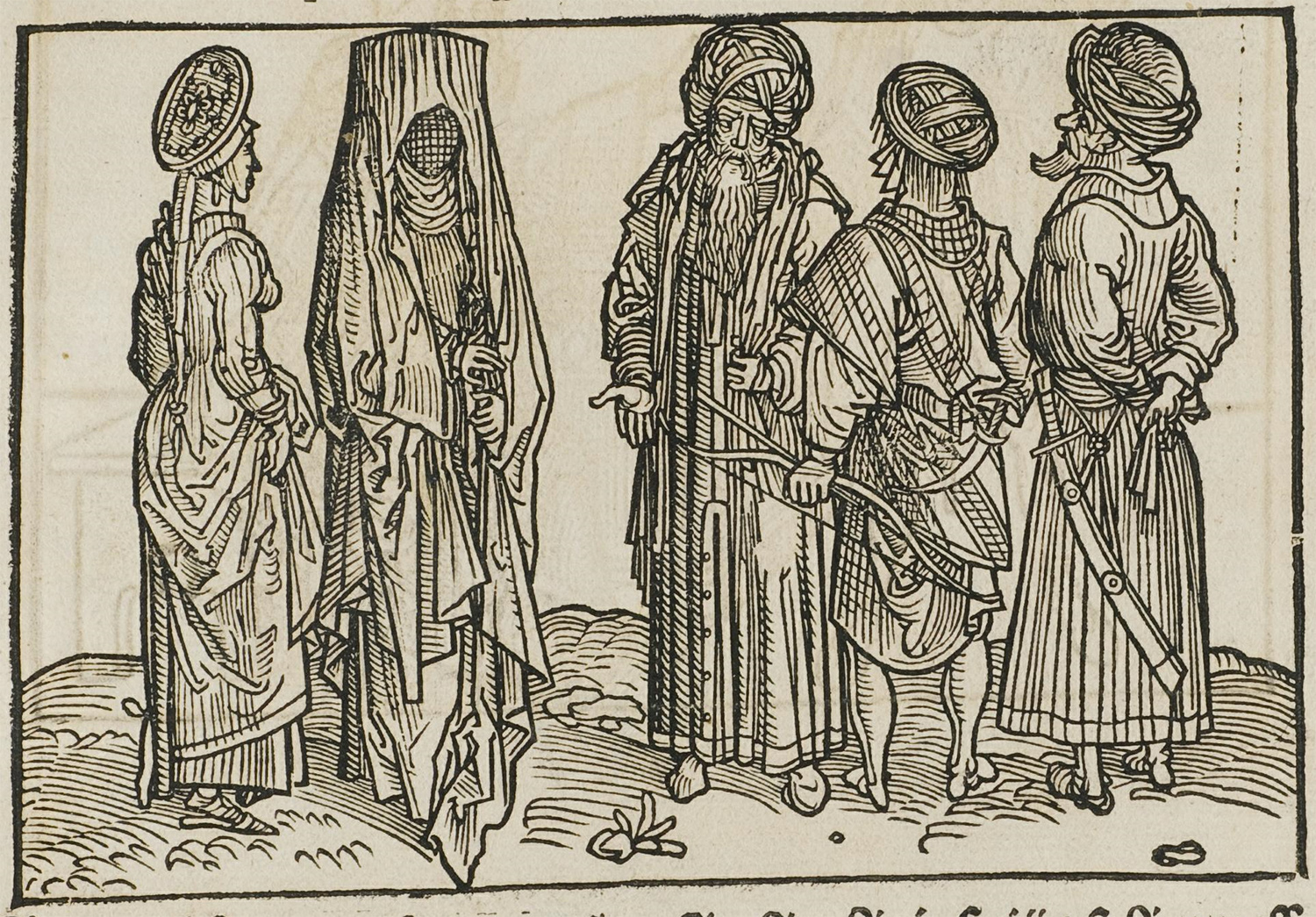 "A Dutch woodcut showing ""Saracens"" by Erhard Reuwich, 1486. Wikipedia."