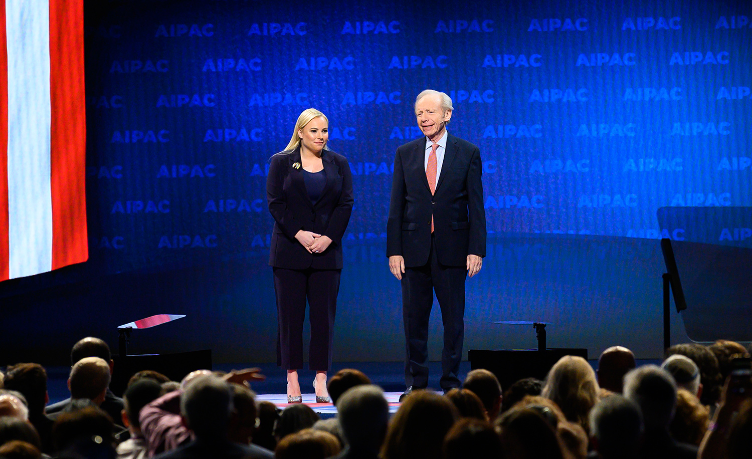 Meghan McCain and Joseph Lieberman at the AIPAC Policy Conference in March 2019. Michael Brochstein/SOPA Images/LightRocket via Getty Images.