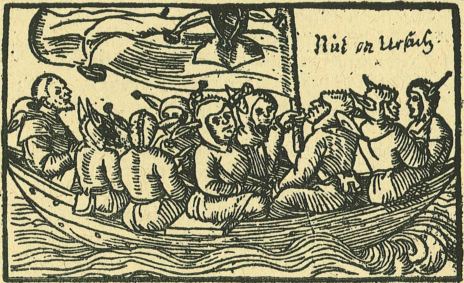 An illustration of the ship of fools from Sebastian Brant's 1494 poem of the same name. Wikipedia.