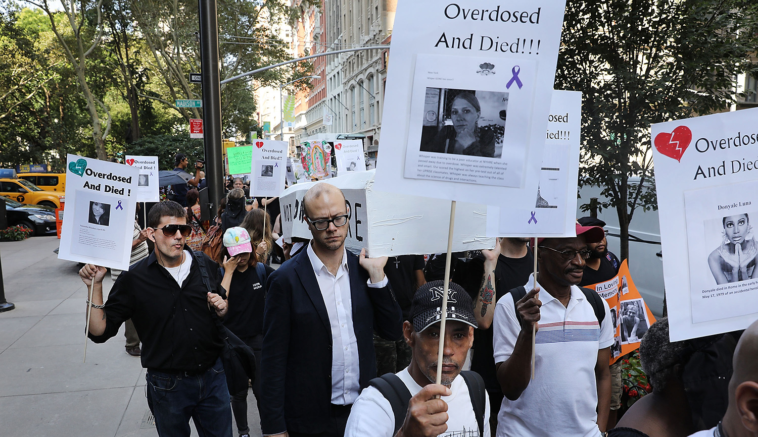 A march on Overdose Awareness Day in 2017 in New York City. Spencer Platt/Getty Images.