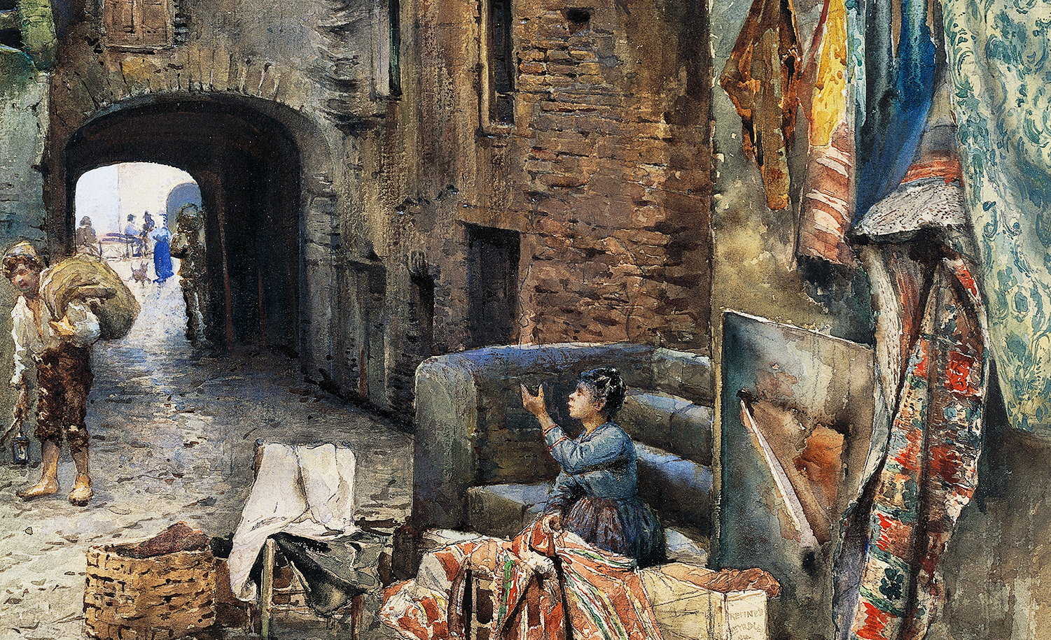 A watercolor rendering of the Roman ghetto in 1885 by Ettore Franz. DeAgostini/Getty Images.