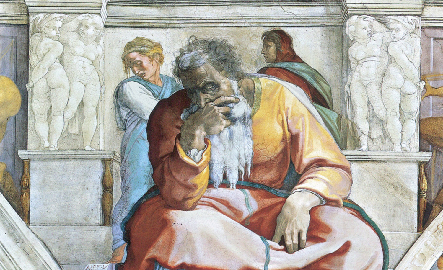 A 1512 fresco of the prophet Jeremiah by Michelangelo at the Sistine Chapel in Rome.