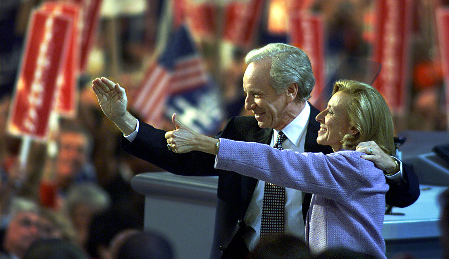Vice-presidential candidate Joe Lieberman and his wife Hadassah wave to delegates at the Democratic National Convention in Los Angeles on August 16, 2000. Mark Wilson/Newsmakers.