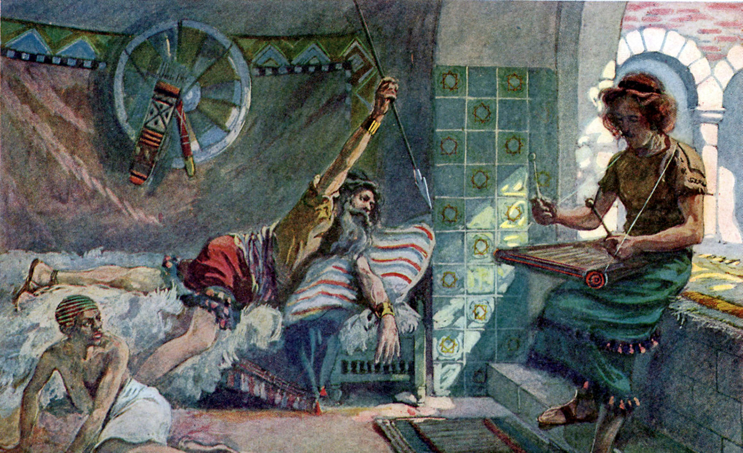 An illustration of King Saul attempting to stab David by James Tissot. Culture Club/Getty Images.