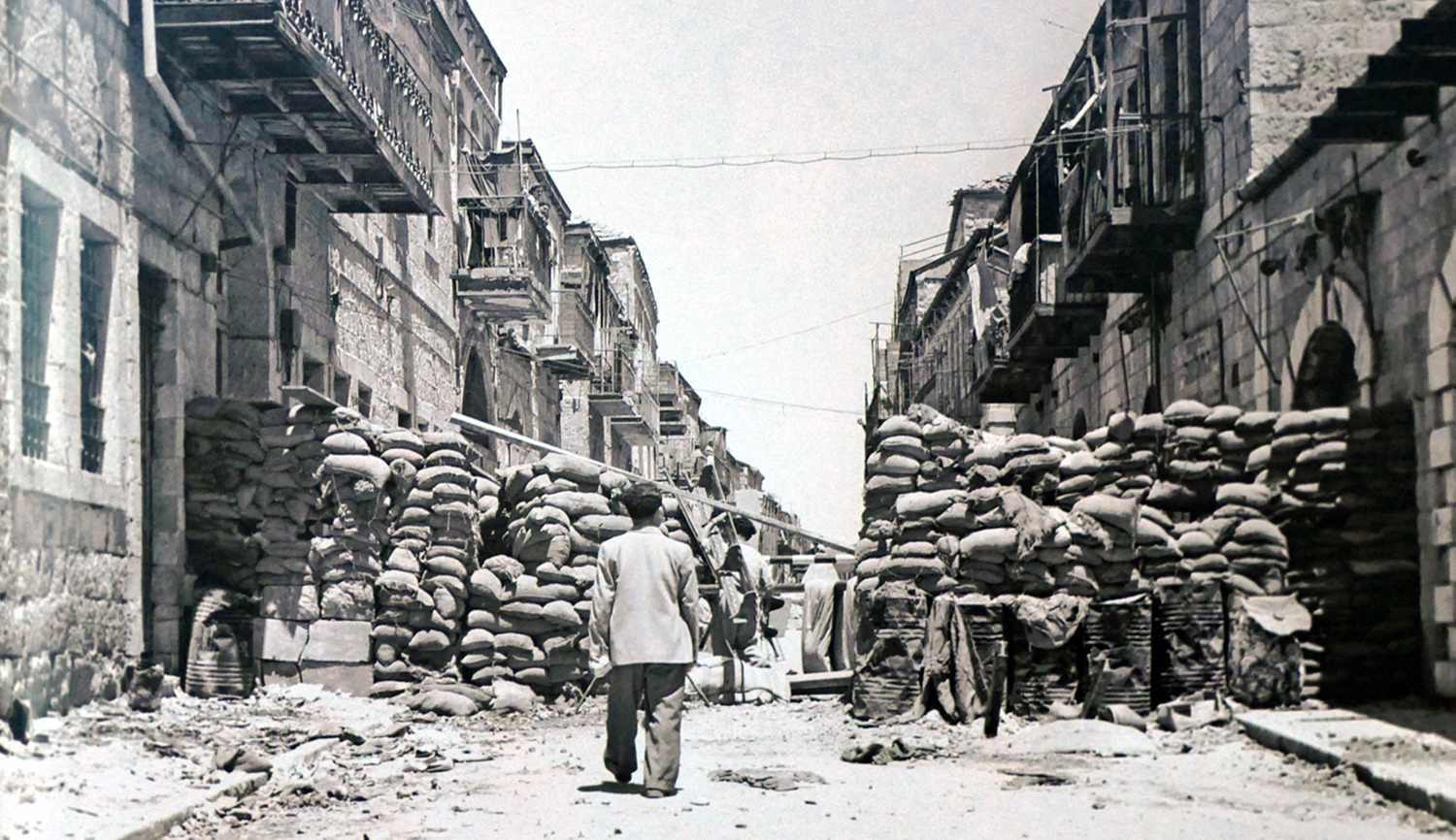 A barricaded street during the Israeli War of Independence in 1948. Universal History Archive/ Universal Images Group via Getty Images.